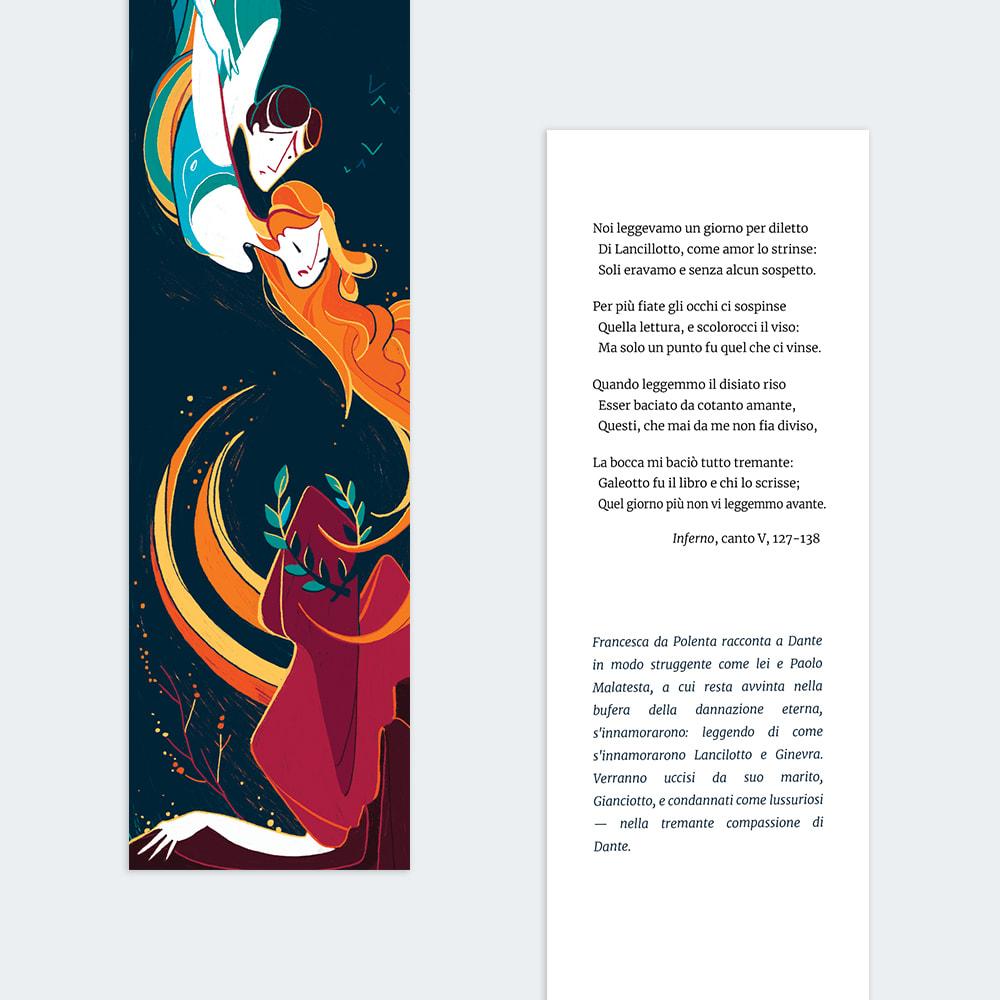 Tris segnalibri Dante - fronte/retro